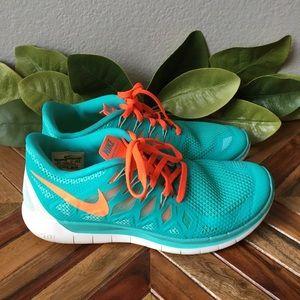Nike Free 5.0 Turquoise and Orange Running Shoes